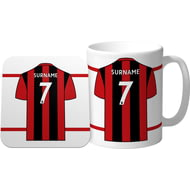 Personalised AFC Bournemouth Shirt Mug & Coaster Set