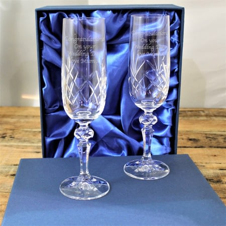 Personalised Pair of Crystal Glass Champagne Flutes In Presentation Box