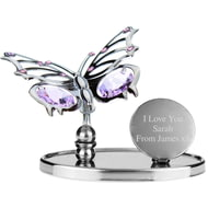 Personalised Engraved Crystocraft Butterfly Ornament with Purple Crystals