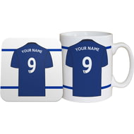 Personalised Everton FC Shirt Mug & Coaster Set