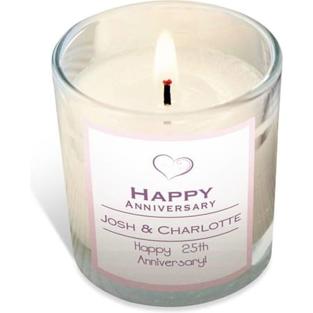 Personalised 'Happy Anniversary' Rose Scented Candle