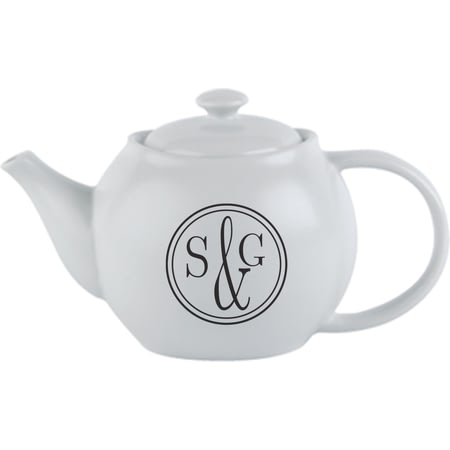 Personalised Monogram Circle Ceramic Teapot
