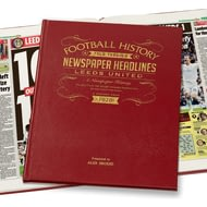 Personalised Leeds United Football Newspaper Book - Leather Cover