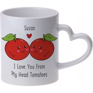 Personalised From My Head Tomatoes Heart Handle Ceramic Mug