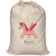 Personalised Magical Christmas Unicorn Santa Sack