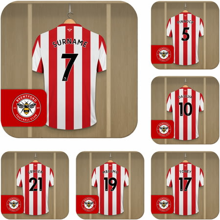 Personalised Brentford FC Dressing Room Shirts Coasters Set of 6