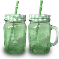 Personalised Green Coloured Mason Jar With Straw