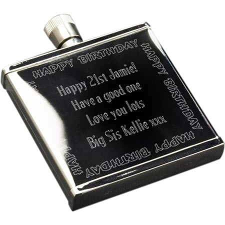 Personalised Happy Birthday Stainless Steel 2oz Hipflask