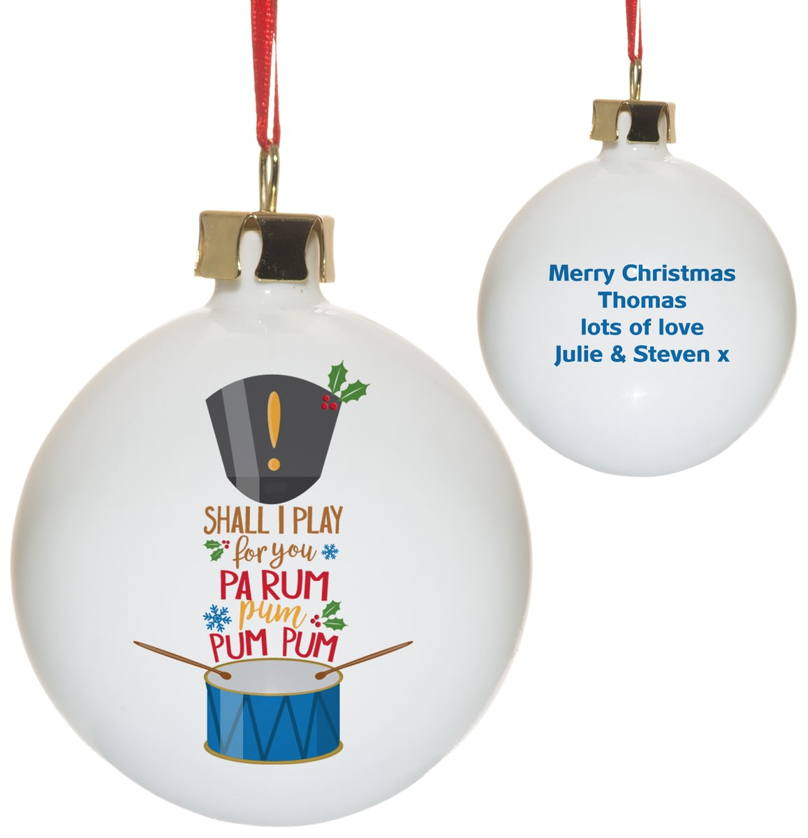 Christmas Drummer.Personalised Little Drummer Boy Christmas Tree Bauble