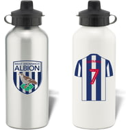 Personalised West Bromwich Albion FC Shirt Aluminium Sports Water Bottle
