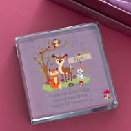 Personalised Woodland Animals Scene Jade Glass Block