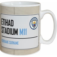 Personalised Manchester City FC Etihad Stadium Street Sign Mug