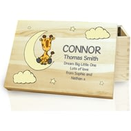 Personalised Sweet Dreams Giraffe Wooden Memory Box