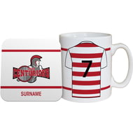 Personalised Leigh Centurions Shirt Mug & Coaster Set