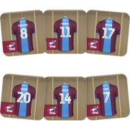 Personalised Scunthorpe United FC Dressing Room Shirts Coasters Set of 6