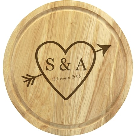 Personalised Sketch Heart Round Cheeseboard With Knives