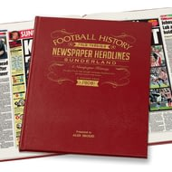 Personalised Sunderland Football History Newspaper Book - Leather Cover