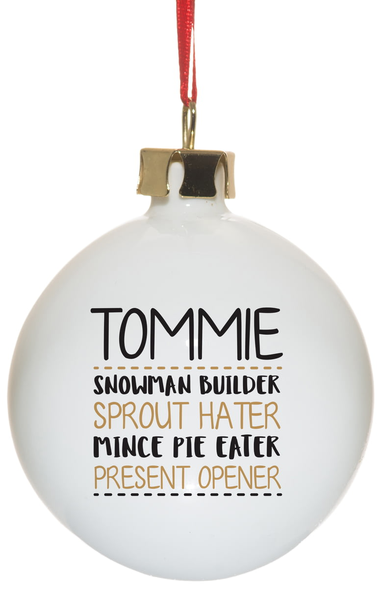 4 Things For Christmas.Personalised 4 Things About Ceramic Christmas Tree Bauble