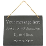 Personalised Engraved Large Hanging Slate Plaque/Sign - 25x20cm