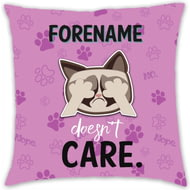 Personalised Grumpy Cat Emoji - Doesn't Care Cushion Pink - 45x45cm