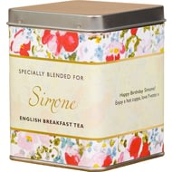 Personalised Tea Bags In Tin Floral Design
