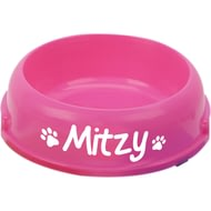 Personalised Round Dog Food/Water Bowl - Pink