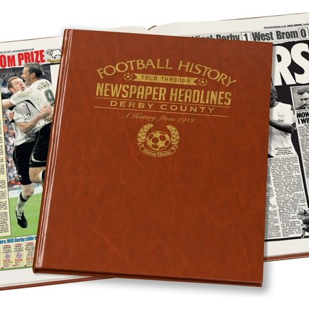 Personalised Derby County Football Newspaper Book - Leatherette Cover