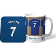 Personalised Cardiff City Dressing Room Shirts Mug & Coaster Set