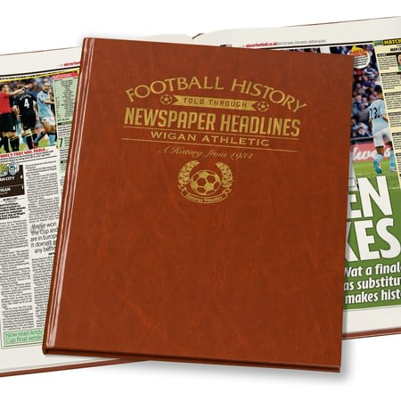 Personalised Wigan Athletic FC Football Newspaper Book - Leatherette Cover