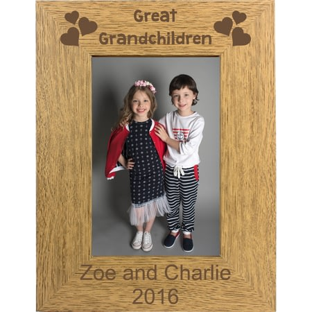 Personalised Great Grandchilden Portrait Wooden Photo Frame