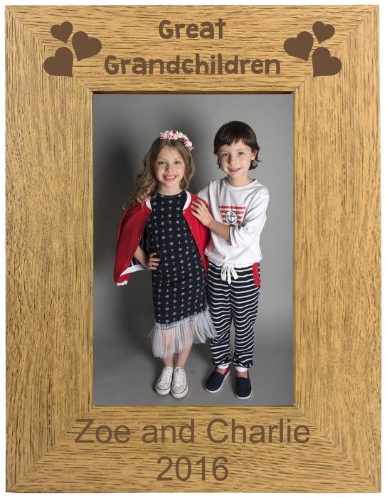 Personalised Great Grandchilden Portrait Wooden Photo Frame 4x6 5x7
