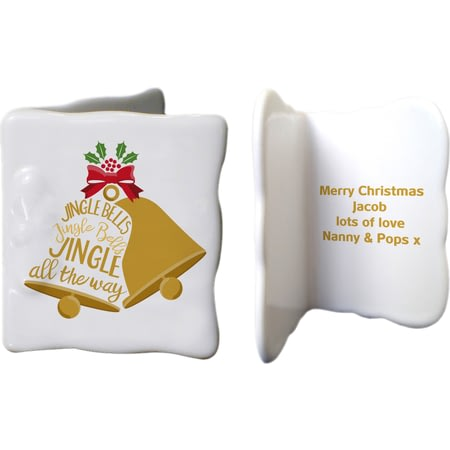 Personalised Jingle Bells Ceramic Message Card