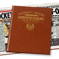 Personalised Watford Football Newspaper Book - Leatherette Cover