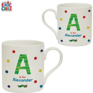 Personalised Very Hungry Caterpillar Spotty Initial Balmoral Mug