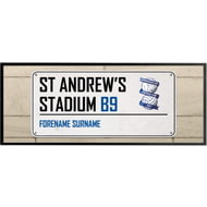 Personalised Birmingham City St Andrews Stadium Street Sign Regular Bar Runner