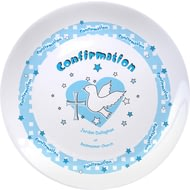"Personalised Blue Heart Confirmation 8"" Bone China Coupe Plate"