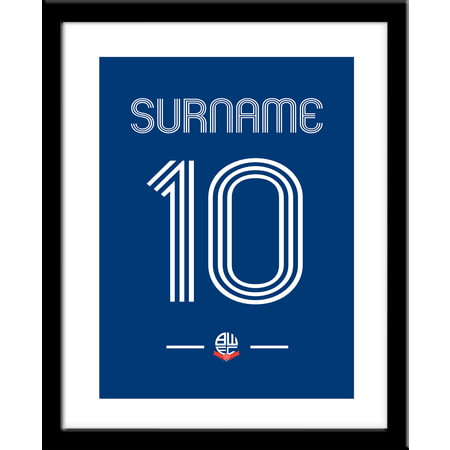 Personalised Bolton Wanderers Retro Shirt Framed Print