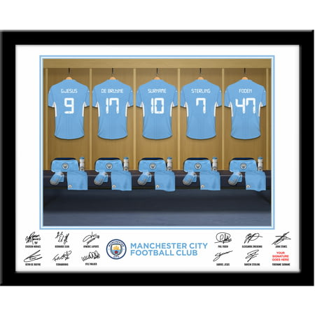Personalised Manchester City FC Dressing Room Shirts Framed Print