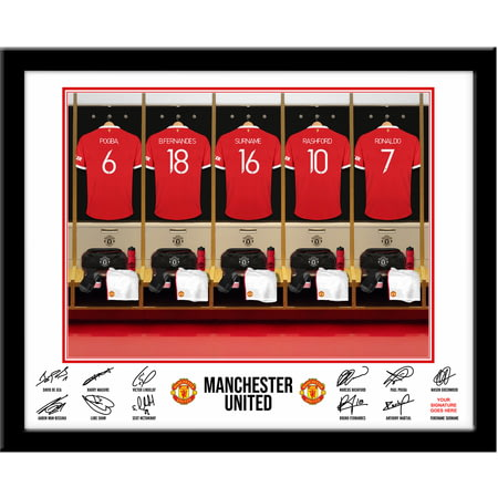 Personalised Manchester United FC Dressing Room Shirts Framed Print