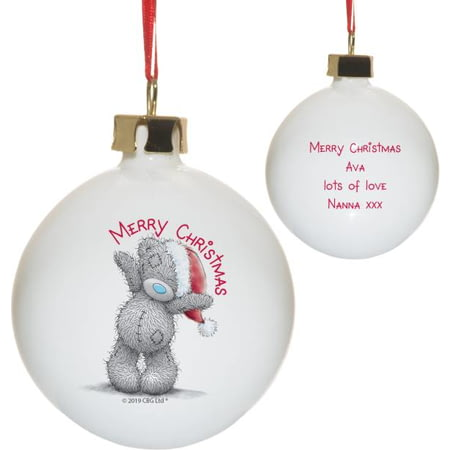 Personalised Me To You Merry Christmas Ceramic Bauble