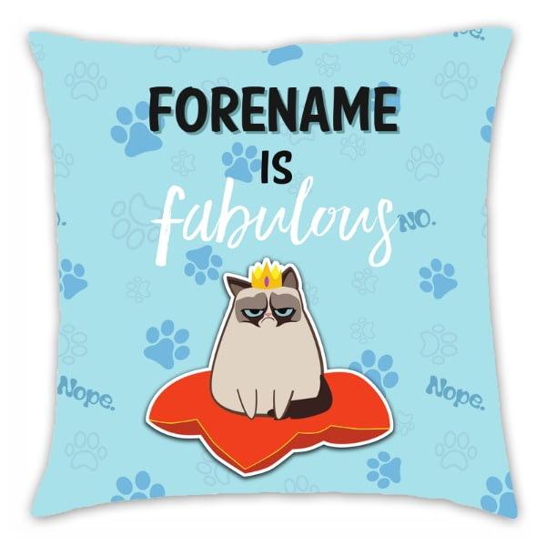 Personalised Grumpy Cat Emoji - Fabulous Cushion Blue - 45x45cm