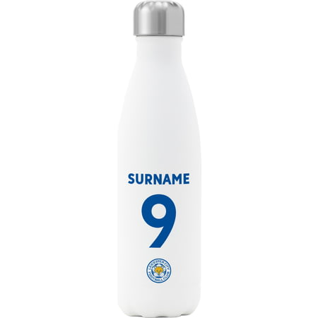 Personalised Leicester City FC Back Of Shirt Insulated Water Bottle - White