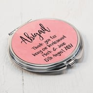 Personalised Pink Round Compact Mirror