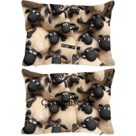 Personalised Shaun The Sheep Group Print Rectangle Cushion - 45x30cm