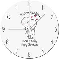 Personalised Chilli And Bubbles Christmas Cuddles Clock