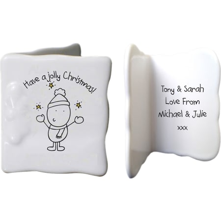 Personalised Chilli & Bubbles Jolly Christmas Ceramic Message Card