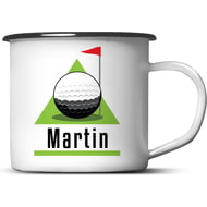 Personalised Golf Green Enamel Metal Mug