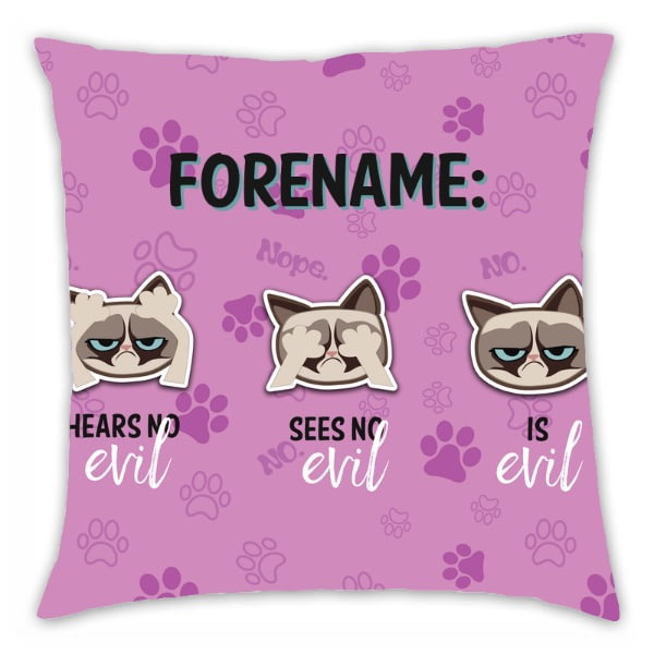 Personalised Grumpy Cat Emoji - Three Wise Cats Cushion Pink - 45x45cm