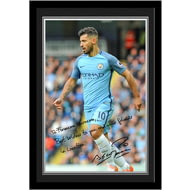Personalised Manchester City FC Aguero Autograph Photo Framed