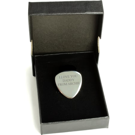 Personalised Silver Guitar Plectrum / Pick - Any Message